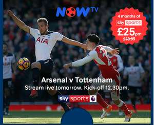 Four months of unmissable sport for just £25 per month on NOW TV. That's a saving of over 25%.