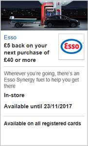 £5 off £40 spend at Esso for HSBC Visa card holders