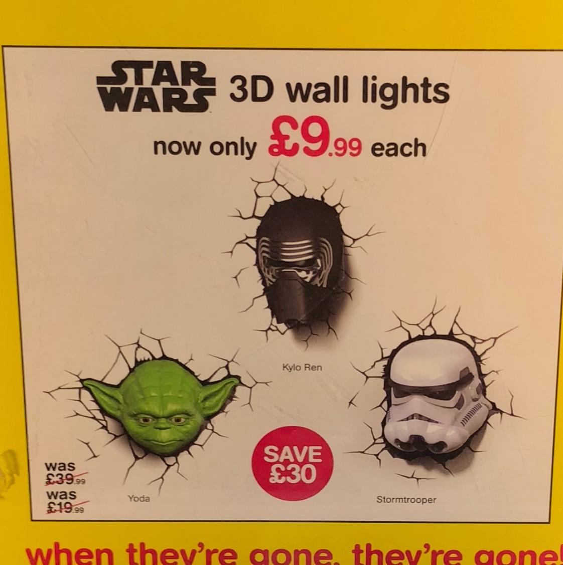 Star Wars 3D wall lights £9.99 instore @ hmv (Manchester)