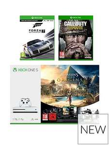 1tb Xbox one c/w assassins creed origins, COD ww2 & forza 7 plus second controller £264.98 (with code for new customers) £293.98 (Existing Customers) @ Very
