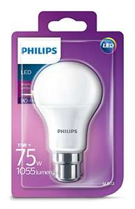 Philips LED B22 Bayonet Cap Light Bulb, Frosted, 11 W (75 W) - Warm White [Energy Class A+] £4.80 (Prime) £8.79 (Non Prime) @ Amazon.co.uk