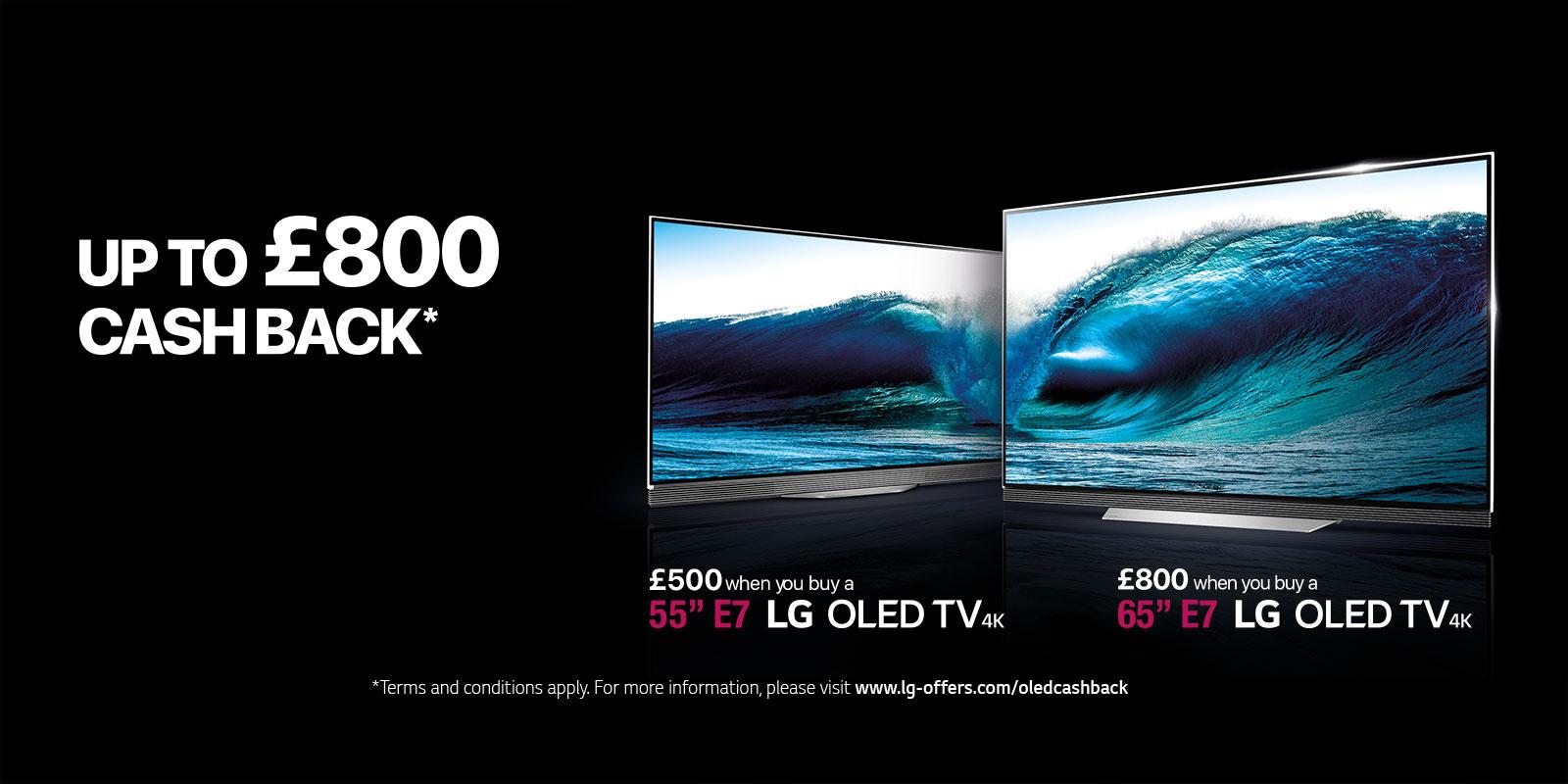 £500/£800 cashback for LG OLED55E7N & LG OLED65E7N
