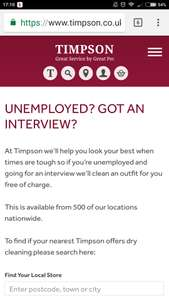 Free suit dry clean for anyone unemployed going to an interview @ Timpsons