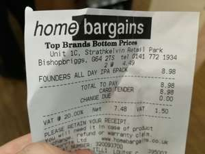 Founders All Day IPA £4.49 6-Pack at Home Bargains Bishopbriggs
