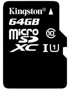 Kingston microSDXC Class 10 UHS-I Card - 64GB  £14.71  Picstop