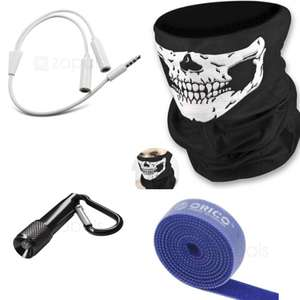24p items at Zapals - 1M Hook and Loop cable management strip /  Mini LED Carabiner Flashlight / Ghost Skull  Motorcycle Mask (16p) (More in op)