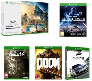 Xbox One S 500GB +  Assassins Creed Origins +  Star Wars Battlefront 2 + Fallout 4 + Doom + Forza 7 £210 @ Curry's