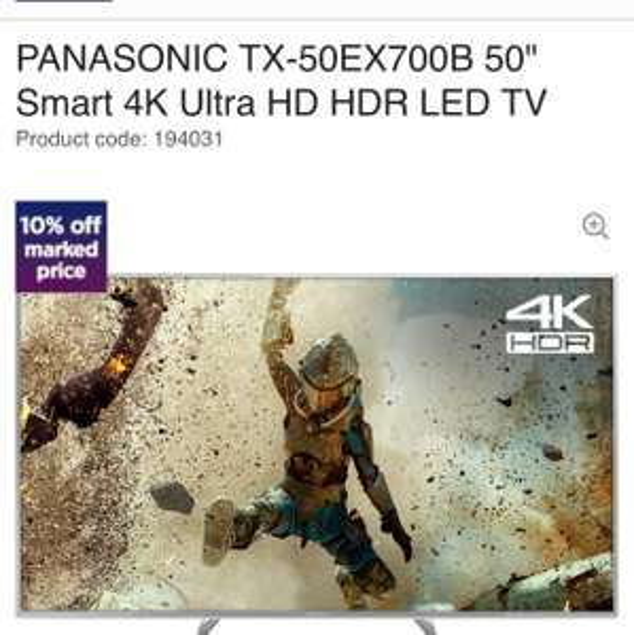 "PANASONIC TX-50EX700B 50"" Smart 4K Ultra HD HDR LED TV £584 @ Currys"