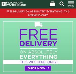 Free Delivery on Everything @ Mountain Warehouse this weekend