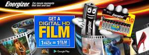 Free movie with 1 pack of Promotional Energizer batteries