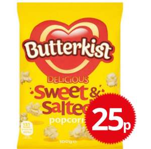 Butterkist delicious sweet & salted popcorn 25p @poundstretcher 100g