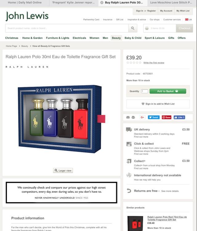 Ralph Lauren Polo 30ml Eau de Toilette Fragrance Gift - £39.20 @ John Lewis (C&C)