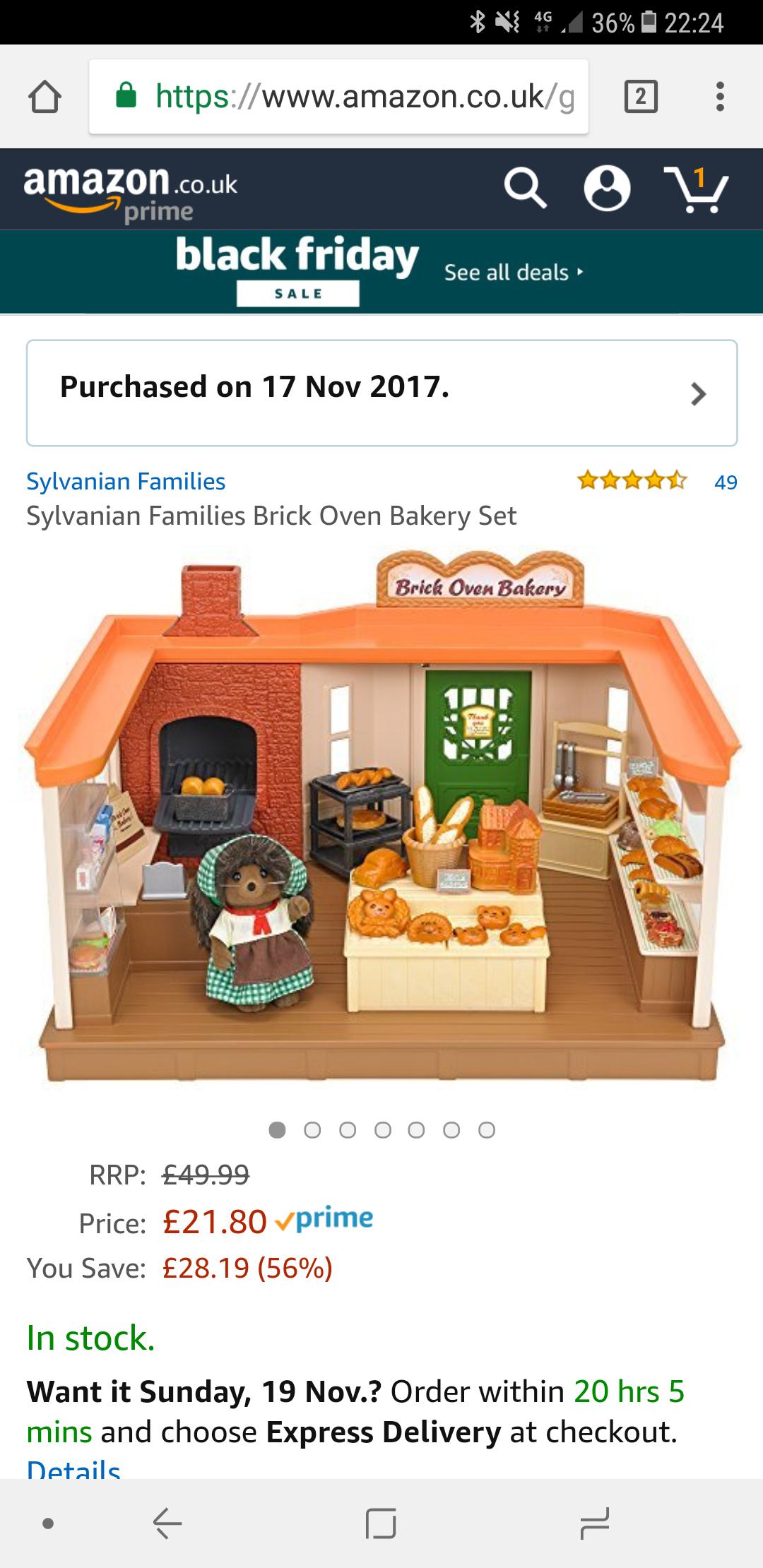 Sylvanian families bakery playset - £21.80 @ Amazon (Prime Exclusive)