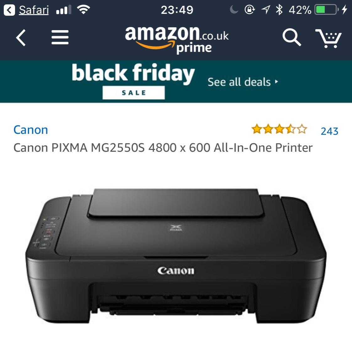 Canon PIXMA MG2550S 4800 x 600 All-In-One Printer @ Amazon prime  was £44.99 now £19.98
