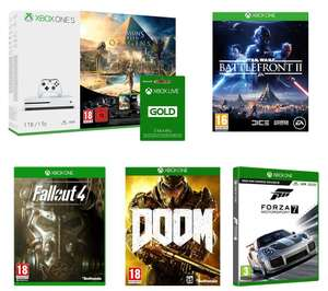 Xbox One S 1TB + Assassins Creed Origins + Star Wars Battlefront 2 + Forza 7 + Fallout 4 + Doom + Rainbow Six Seige + 3 Months Xbox Live Gold £248.98 @ Curry's