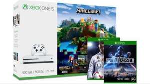 Xbox one S, two wireless controllers, Star wars battlefront, Minecraft complete adventure at Microsoft for £224.98