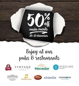 50% off mains Monday 20th-Thursday 23rd at Harvester & most Mitchell & Butlers brands ( Sizzling pubs, Toby Carvery,etc.)