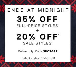 GAP - 35% off Full-Price and 20% off Sale items + 9% TCB. TODAY ONLY, ends at Midnight