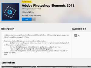 Adobe Photoshop Elements 2018 reduced in the Microsoft Store (from £83.49) - £49.99 @ Microsoft Store