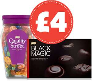 Quality Street Jar (600g) / Black Magic Large (443g) / Dairy Box Deluxe (400g) ONLY £4.00 @ Nisa