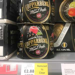 £2.88 330ml x 4 Kopparberg mixed fruits cans @ Tesco instore (Bromley)