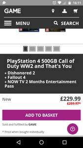 PlayStation 4 500GB  Call of Duty WW2 and That's You Dishonored 2  Fallout 4  NOW TV 2 Months Entertainment Pass - £229.99 @ GAME