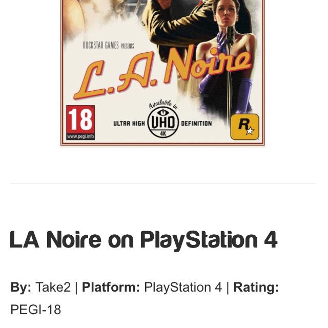 La noire PS4 26.85 @ Simply Games