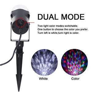 Save 46% off - Christmas Projector Lights, YINUO LIGHT Waterproof Spotlight Rotating Led Light, Adjustable Projection Kaleidoscope for House, Garden, Swimming Pool, Disco DJ Bar Party Decoration - £14.99 Prime Sold by Mengdiuk and Fulfilled by Amazon