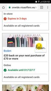 £20 cashback on purchase of £70 @ boden via nationwide visa EU offer