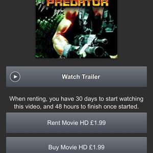 H/D Predator,Predator2 ,Predators And AVP £1.99 each @ Amazon Video