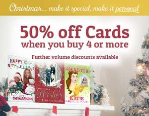 50% off personalised cards when you buy 4 or more @ Funky Pigeon