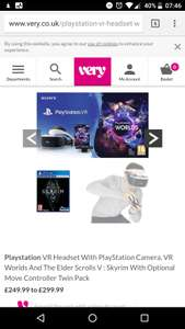 PSVR Bundle (Worlds pack, Skyrim, 2 x move controllers) £299 @ Very (poss £255.73 after New Customer Account code & Cashback)