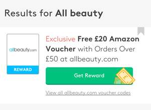£20 Amazon voucher when you spend £50 at All Beauty via Vouchercodes