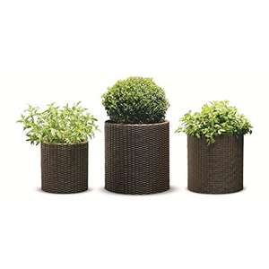 Keter Indoor/Outdoor Rattan Style Garden Planters, 3 Size Set Round Plant Pots - Brown - £29.99 (Prime exclusive) @ Amazon