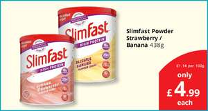 Slimfast Powder Strawberry or Banana (438g) ONLY £4.99 @ Savers