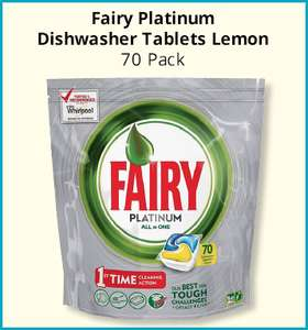Fairy Platinum All in One Dishwasher Capsules Original (70) ONLY £7.99 @ Savers