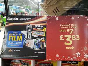Energizer AA / AAA Batteries with Free HD Movie  - ASDA Instore - Reduced to £3.83