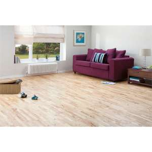solid wood parawood flooring at Homebase for £15 a pack