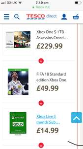 Xbox one s 1tb with assassins creed and rainbow six siege(download) fifa 18 and 3 months live - £229.99 @ Tesco