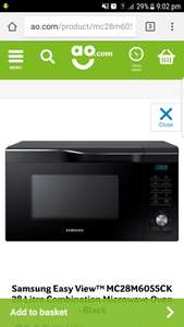 Samsung Easy View™ MC28M6055CK 28 Litre Combination Microwave Oven - £119 @ AO