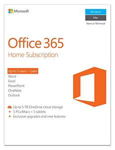 Microsoft Office 365 Home (5 Users, 1TB OneDrive each) - £49.99 Amazon Deal Of The Day