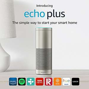 Echo Plus – With built-in smart home hub (Silver) – Includes Philips Hue White E27 Edison Screw Light Bulb £109.99 @ Amazon