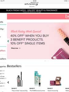 40% Off When You Buy 3 Benefit Products at Debenhams Online