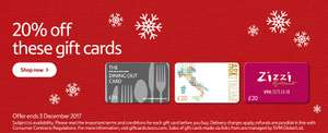 20% off Gift Cards - Mitchell & Butler (Includes Harvester, Toby Carvery, Miller & Carter, Browns) - Zizzi - Ask - Costa - Jamie's Italian - Uber @ Tesco