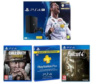 PlayStation 4 Pro, PlayStation Plus Subscription, FIFA 18, COD WWII & FALLOUT @ £299.99 Currys