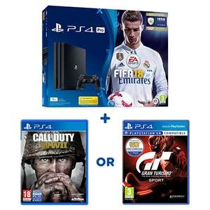 PS4 pro FIFA 18 plus either COD ww2 or GT sport - Smyths - £299.99