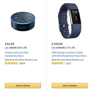 Fitbit Charge 2 and Amazon Echo Dot Multibuy Deal *BLACK FRIDAY WEEK* £134.98
