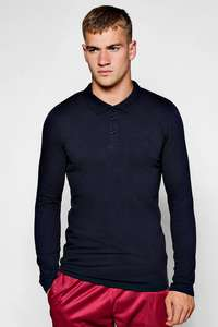 LONG SLEEVE MUSCLE FIT POLO @ BoohooMan - £5 inc. voucher code + Free Del + £2.50 Quidco + 10% Quidco = £2