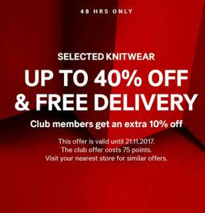 Up to 40% off selected knitwear  and free delivery on H&M