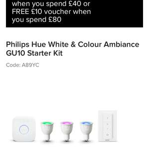 Philips Hue White & Colour Ambiance GU10 Starter Kit at Maplin for £159.99